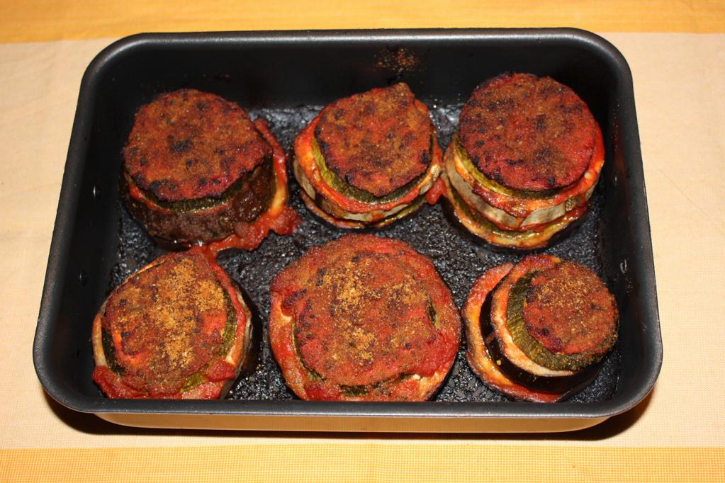 torre di zucchine e melanzane - cuocere la torre