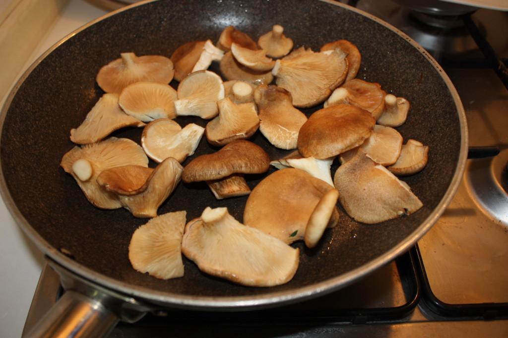 Funghi saltati su letto di cipolla dorata - salto i funghi in padella