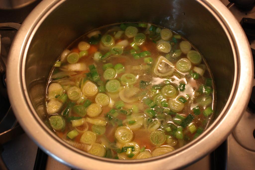 zuppa di farro - aggiungere acqua