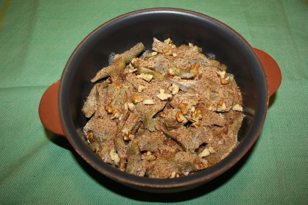 carciofi gratinati con noci - aggiungere pangrattato