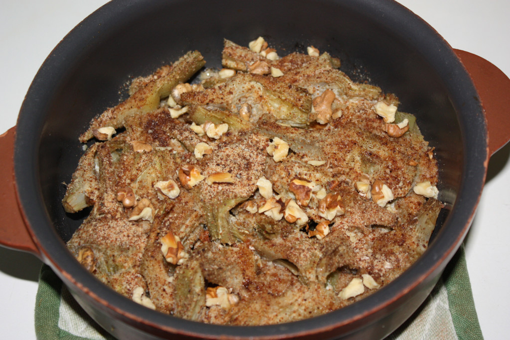 carciofi gratinati con noci - grigliare in forno