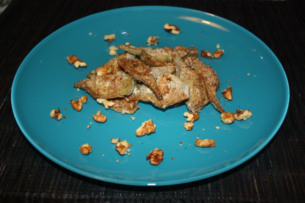carciofi gratinati con noci - piatto finito