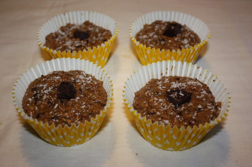 muffin vegan al cioccolato e cocco - infornare