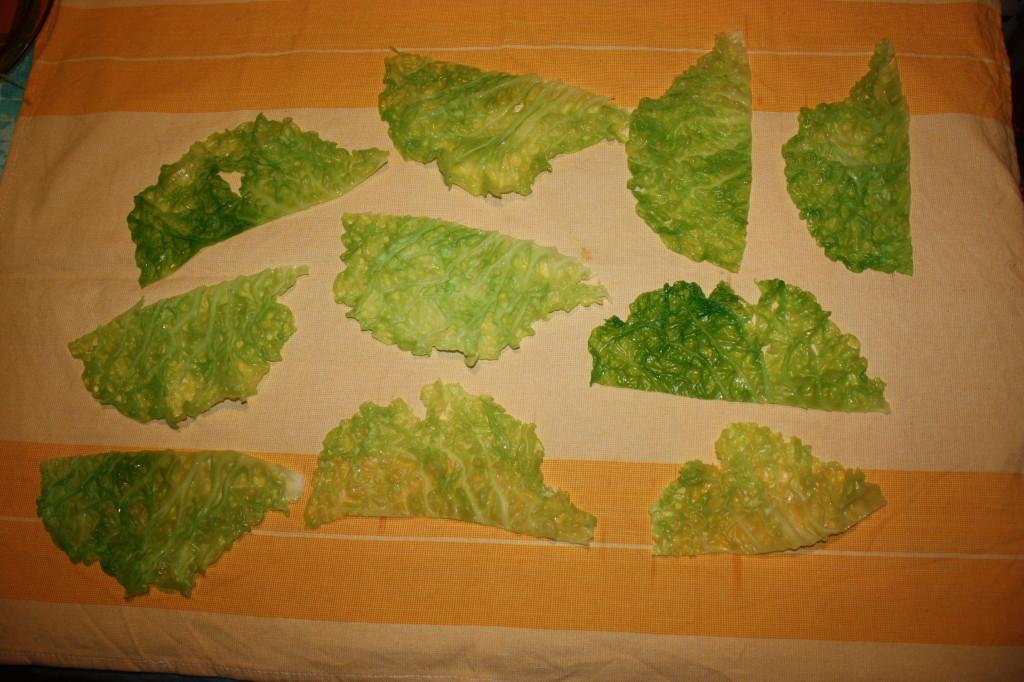rotolini di verza ripieni - asciugare le foglie