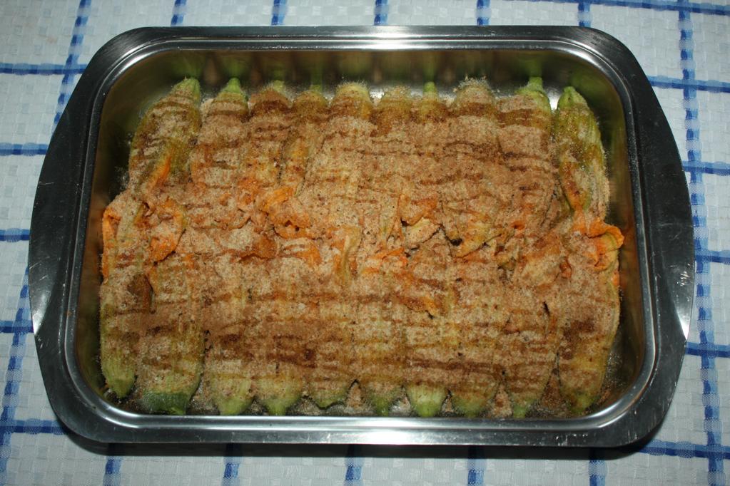 fiori di zucchina al tofu affumicato - infornare