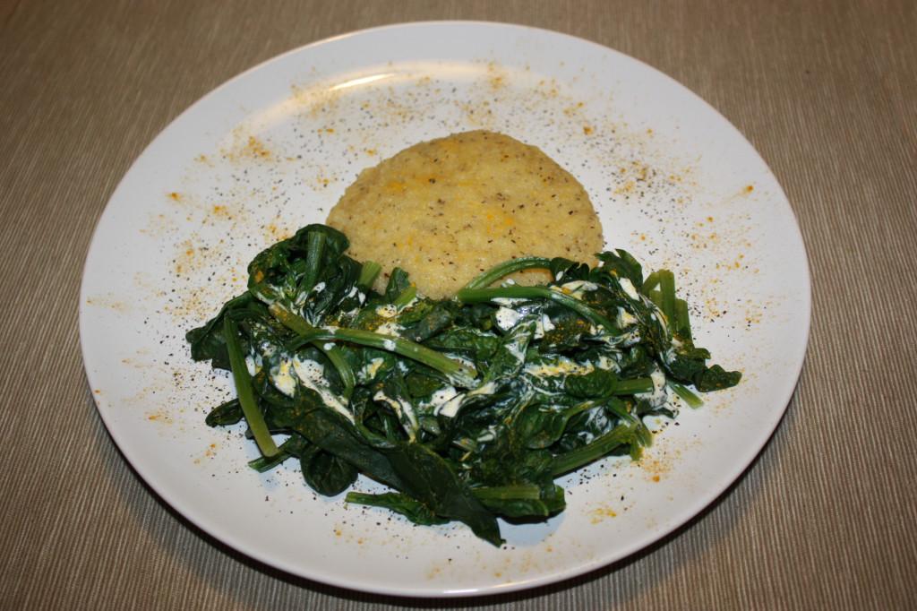 polenta e spinaci - piatto pronto