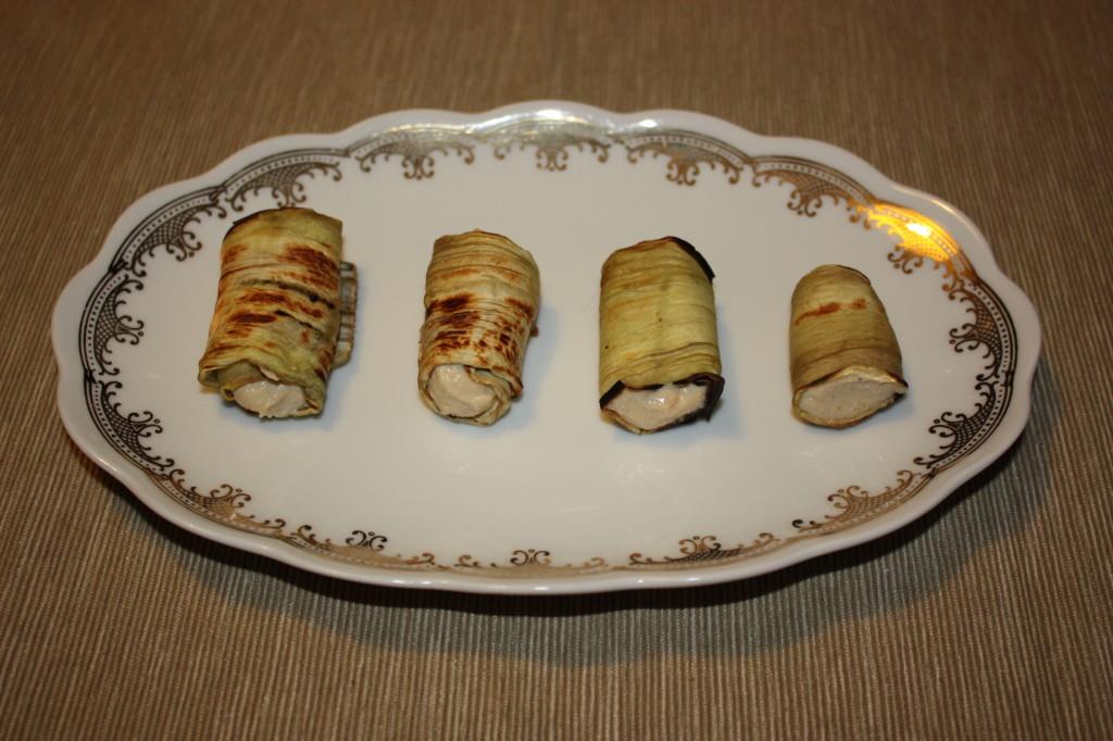 involtini di melanzana con crema di arachidi e anacardi - piatto pronto