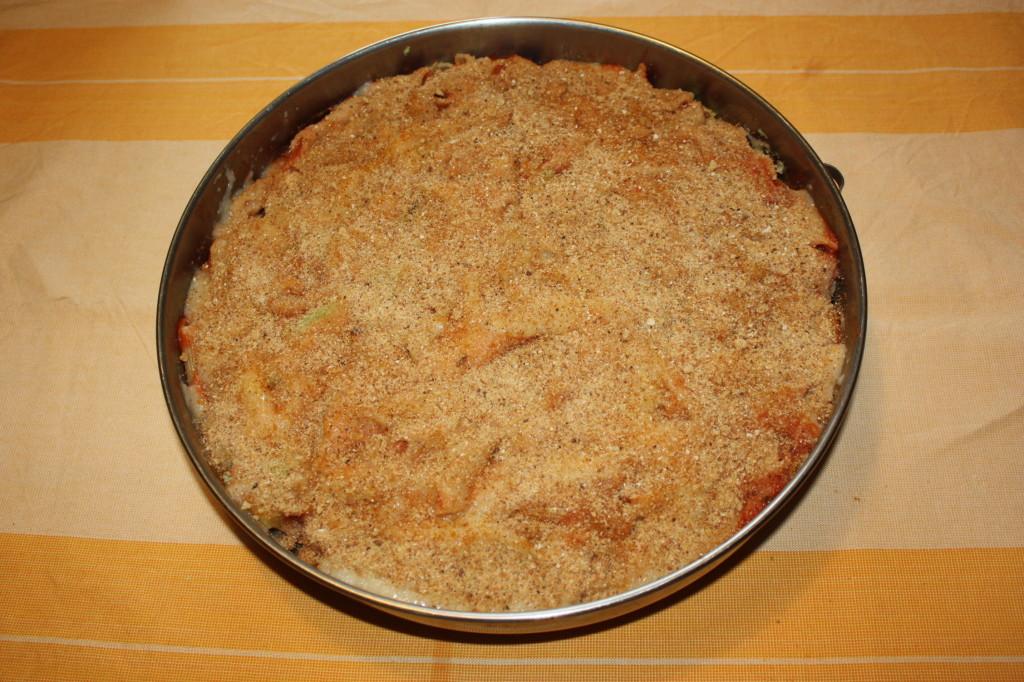 pasta al forno con cavolfiori - aggiungere pan grattato