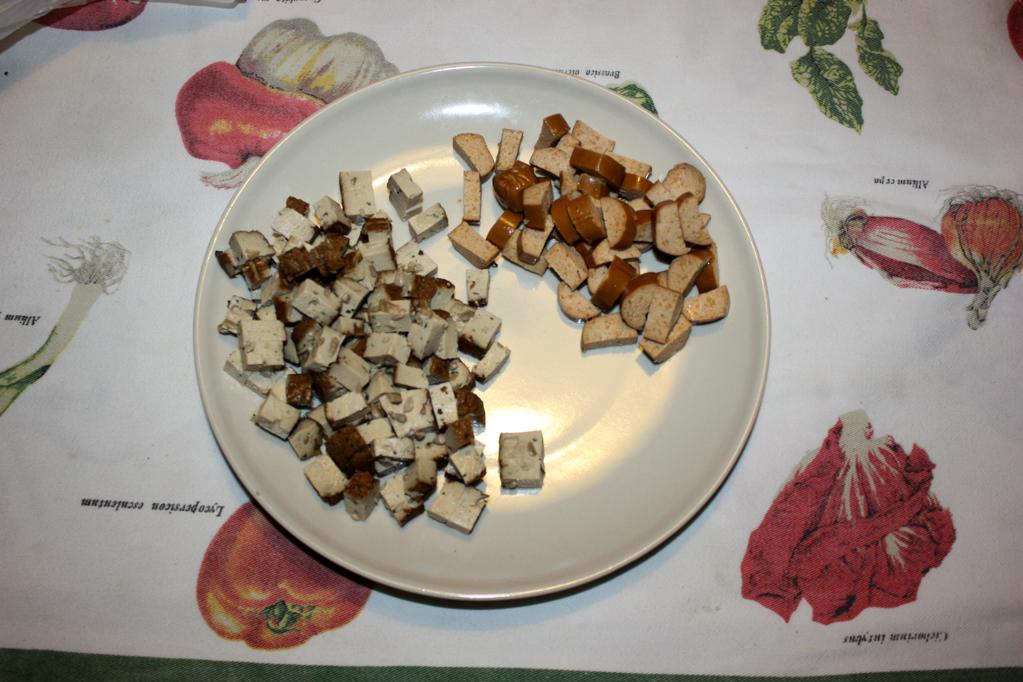 riso cantonese - wurstel a pezzi