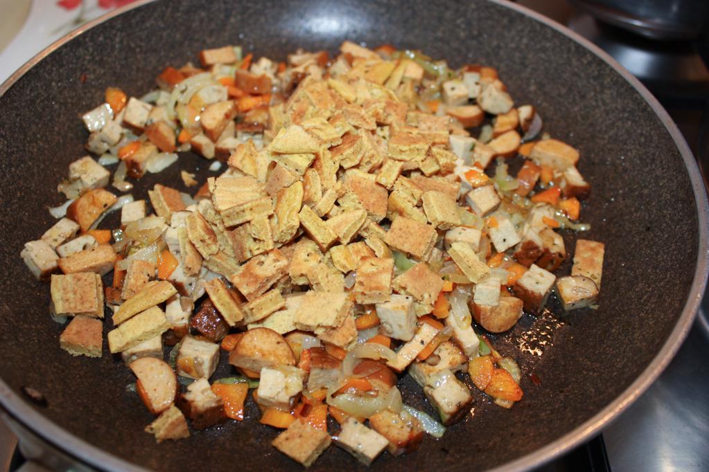 riso cantonese - aggiungere la frittata