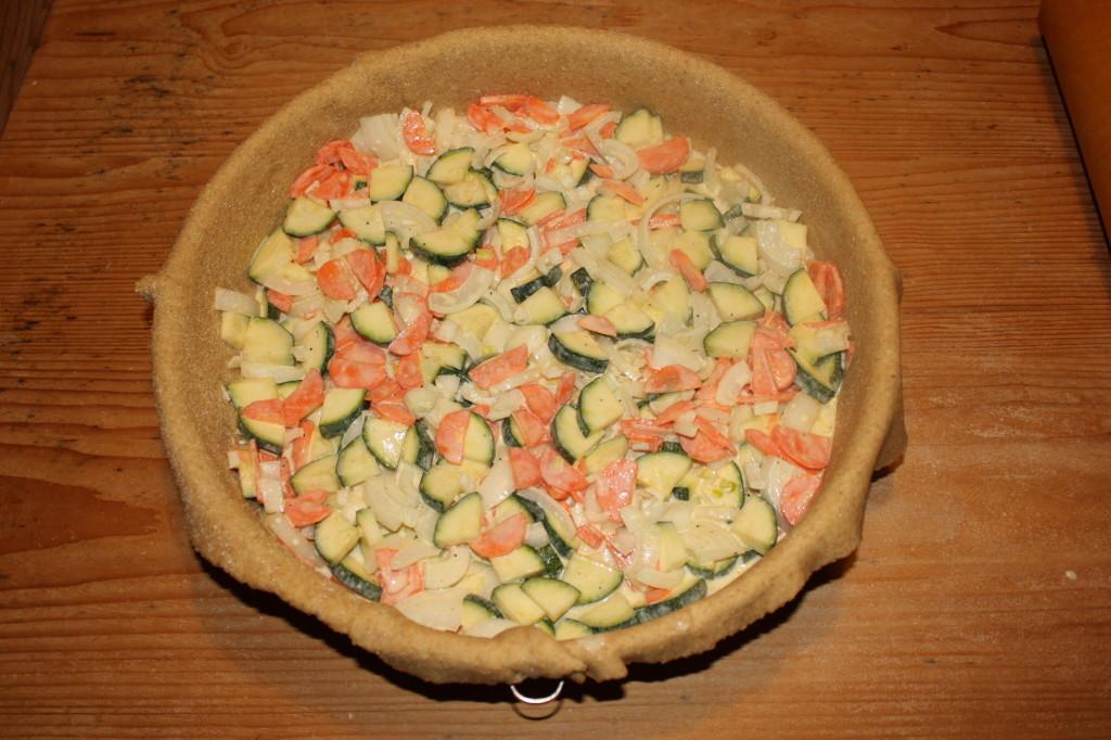 crostata di verdure - aggiungere le verdure