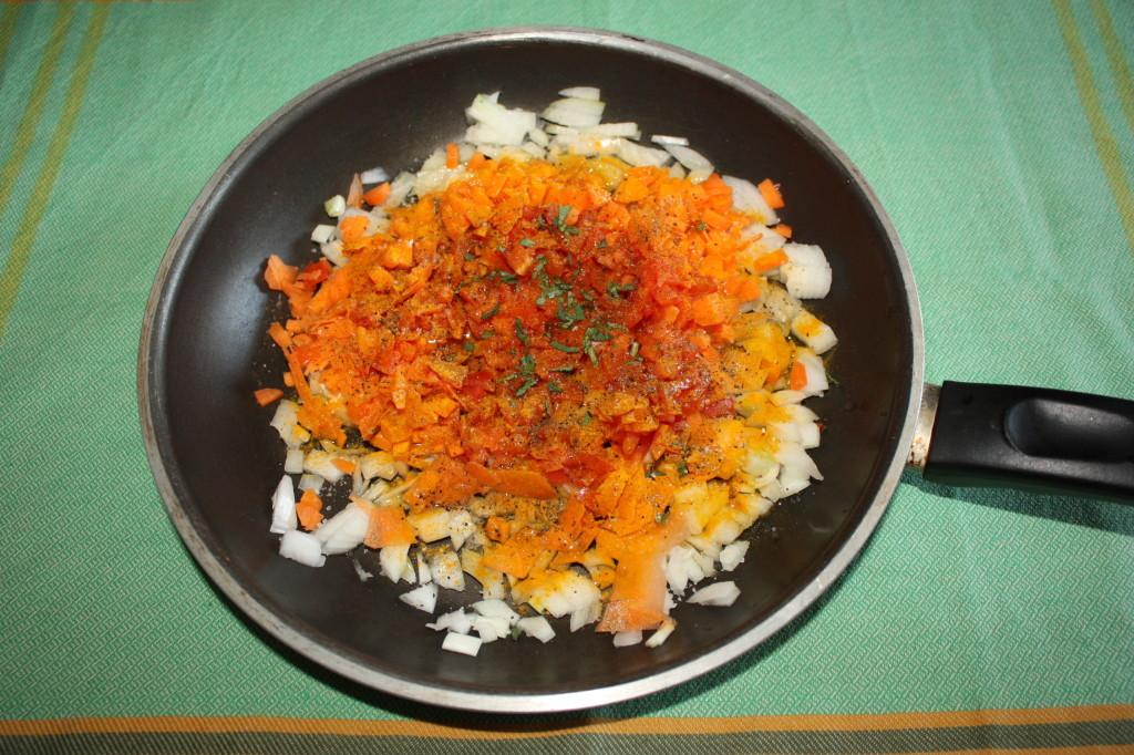 polpette di riso - tagliare le verdure
