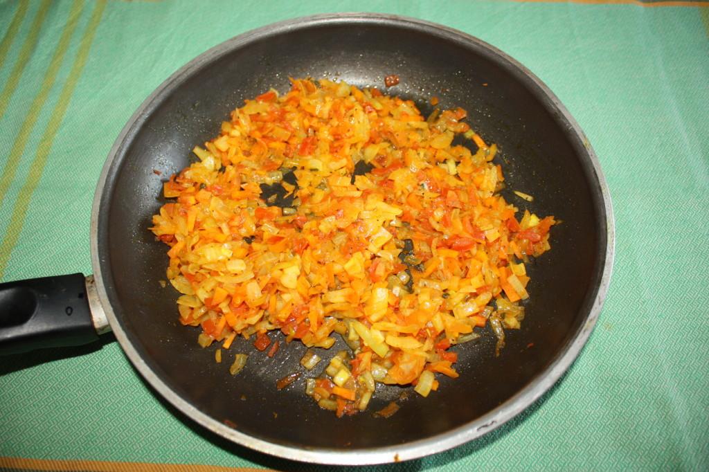 polpette di riso - cuocere le verdure