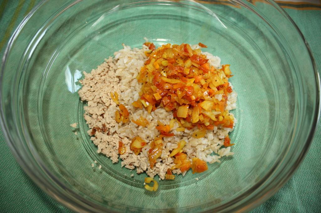 polpette di riso - unire gli ingredienti