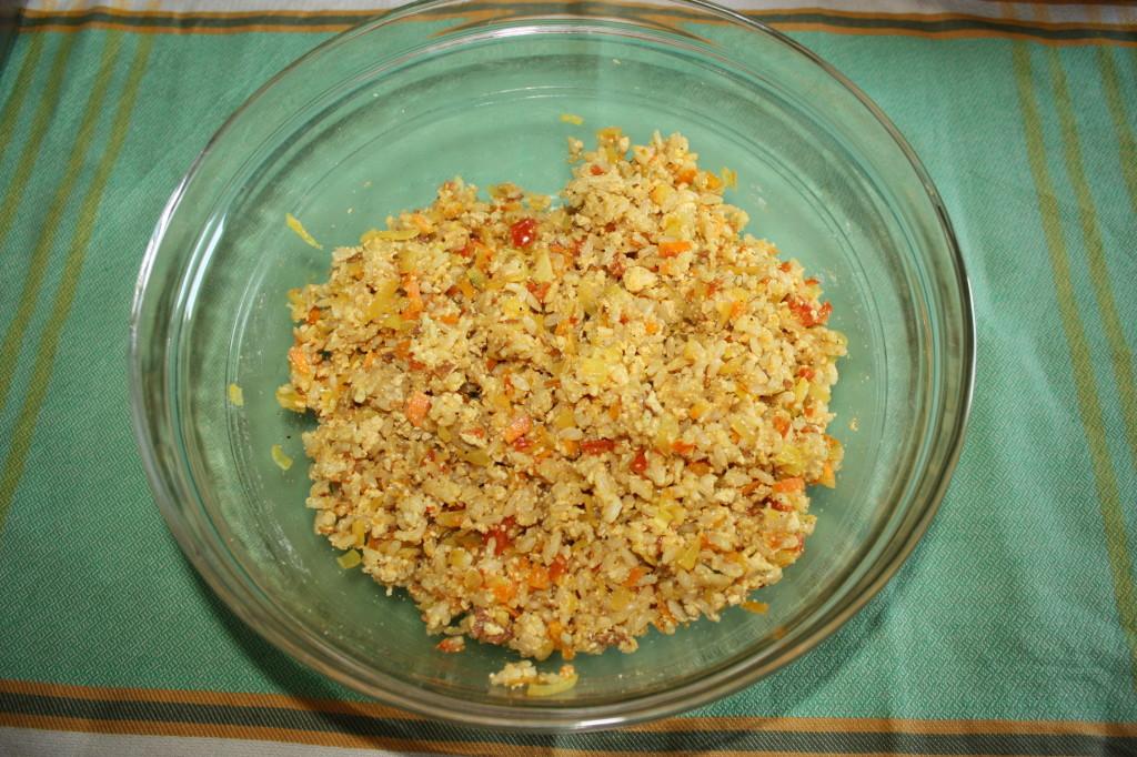 polpette di riso - mescolare tutti gli ingredienti