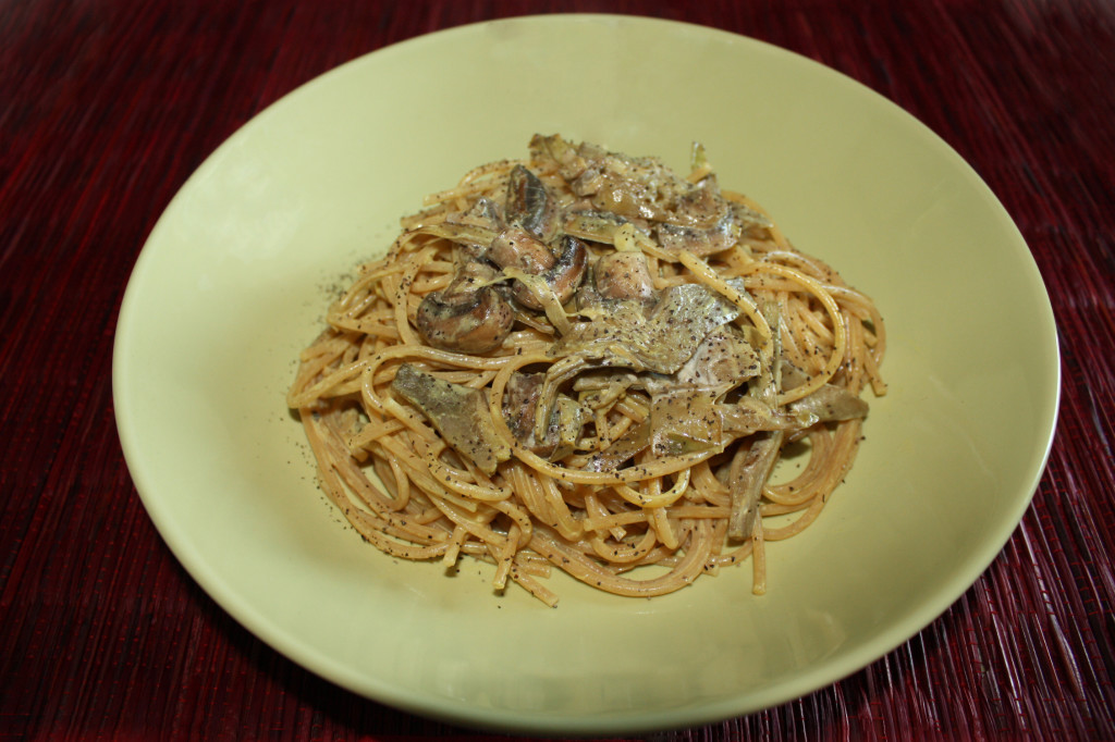 spaghetti con funghi e carciofi - piatto pronto