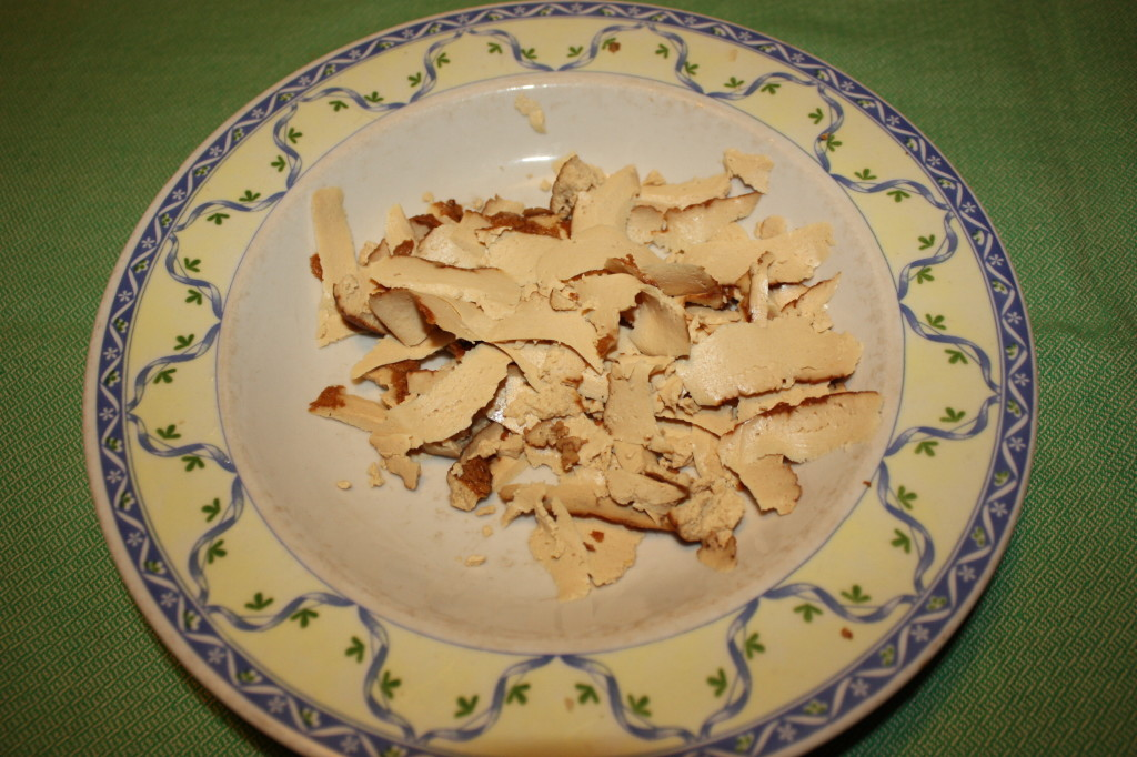 kebab vegan - tagliare il tofu