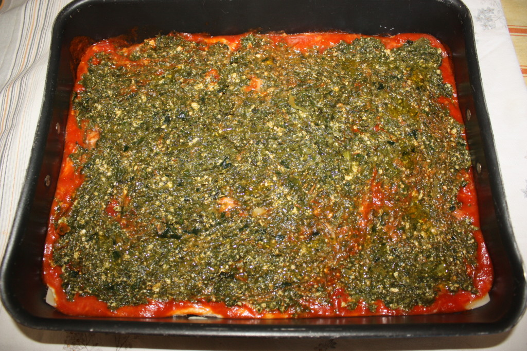 lasagna agli spinaci - aggiungere gli spinaci