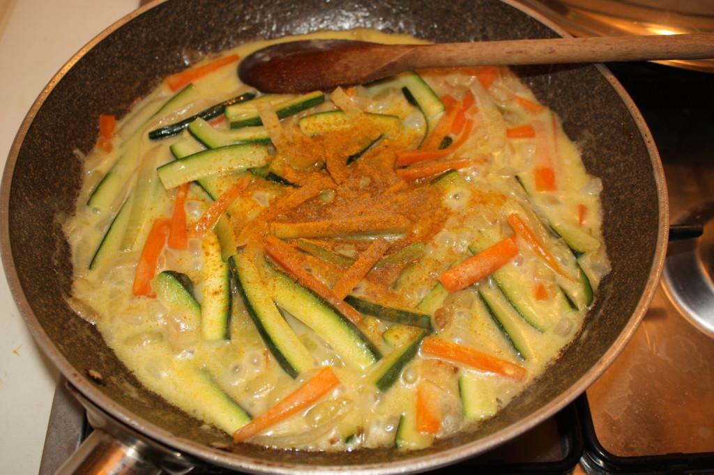 verdure al latte di cocco - aggiungere le spezie