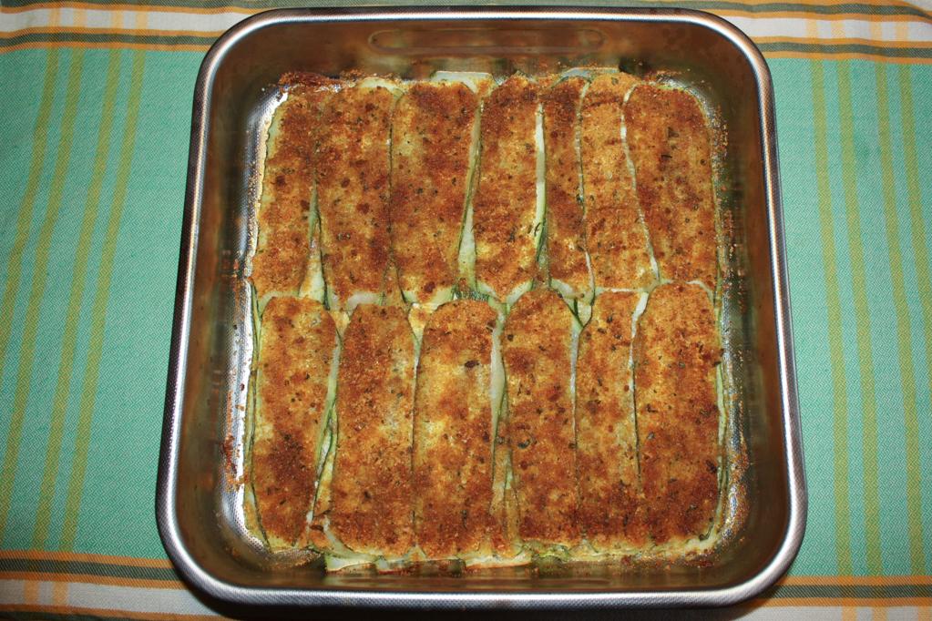 zucchine gratinate - infornare le zucchine